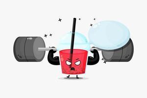 O mascote do chá da bolha levanta uma barra vetor