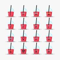 Conjunto de chá de bolhas fofinho com emoticons vetor