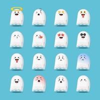 fantasma fofo de halloween com emoticons vetor