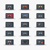 laptop fofo com conjunto de emoticons vetor