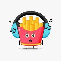 Mascote fofo de batatas fritas ouvindo música vetor