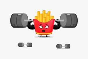 Mascote fofo de batatas fritas levantando uma barra vetor