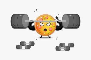 mascote fofo da pizza levantando uma barra vetor