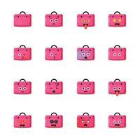 bolsa de trabalho fofa com conjunto de emoticons