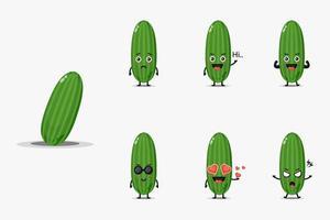 Conjunto de design de mascote de pepino fofo vetor