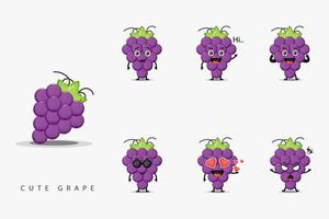 Conjunto de design de mascote de uva fofo vetor
