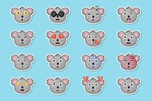 conjunto de adesivos de coala fofo vetor