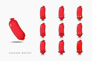 Conjunto de design de mascote de salsicha fofa vetor