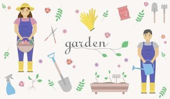 um conjunto de ilustrações de jardim representando uma mulher com botas de borracha com uma cesta de flores nas mãos, um homem de macacão com um regador nas mãos, uma pá, sementes, luvas de borracha. vetor