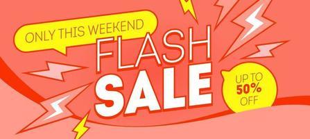 design de bandeira vermelha de venda flash. desconto, negócio, modelo de web de promoção de compras. marketing de vetor