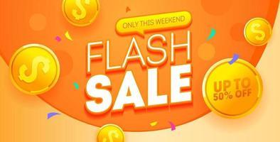 banner laranja de venda flash vetor