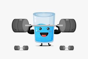 mascote de copo d'água bonito levantando uma barra vetor