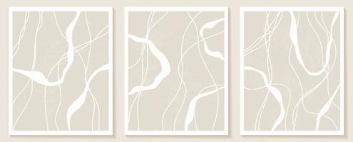 conjunto de modelos elegantes com formas abstratas orgânicas e linha em cores nude. fundo pastel em estilo minimalista. ilustração vetorial contemporânea