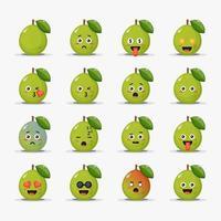conjunto de goiaba fofa com emoticons vetor