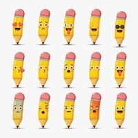 conjunto de lápis fofo com emoticons vetor