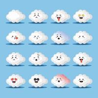 conjunto de nuvens fofas com emoticons vetor