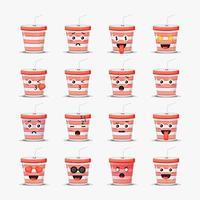 conjunto de copo de refrigerante fofo com emoticons vetor