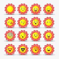 conjunto de flores fofas com emoticons vetor