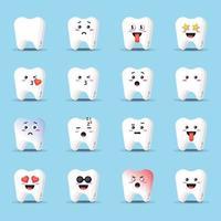 dente fofo com conjunto de emoticons vetor