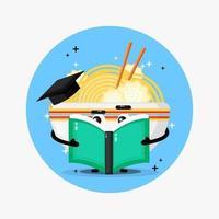 mascote ramen fofo lendo um livro vetor