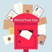 caixa de correio vermelha com diferentes envelopes vetor