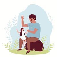 uma menina está sentada no colo de seu pai vetor