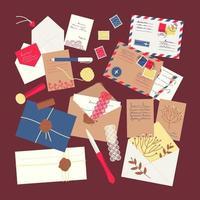 um conjunto de envelopes, cartas, cartões postais, selos postais vetor
