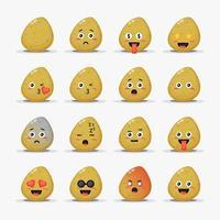 Conjunto de batatas fofas com emoticons vetor