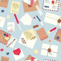 envelopes de padrão sem emenda, cartas, cartões postais, selos postais vetor