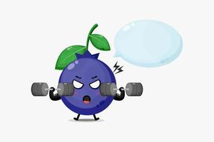 mascote blueberrie fofo levantando uma barra vetor