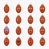 Conjunto de coxas de frango fofas com emoticons vetor