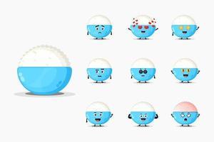 conjunto de design de mascote de arroz fofo vetor
