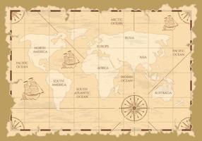Antiga ilustração do mapa do mundo vetor