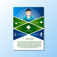 Brochura para modelos de conceito de cuidados de saúde e médicos vetor