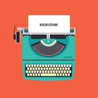Máquina de escrever máquina plana vetor