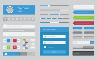 Wireframe Element Mobile e Aplicação Web em Design Plano vetor
