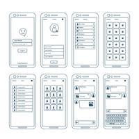 Elementos do wireframe de aplicativos vetor