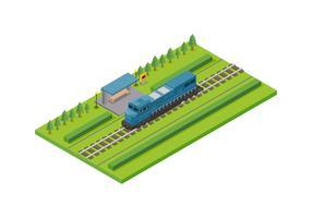 Vetor de locomotiva isométrica