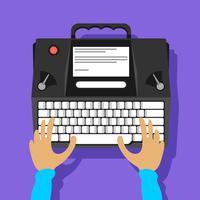 Vetor de máquina de escrever moderna preto