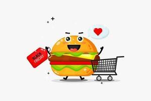 Mascote do hambúrguer fofo com desconto na Black Friday vetor