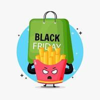 Mascote fofo das batatas fritas carregando uma bolsa preta sexta-feira vetor
