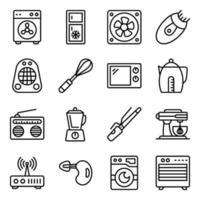pacote de ícones lineares de eletrodomésticos vetor