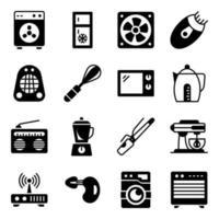 pacote de ícones de glifo de eletrodomésticos vetor