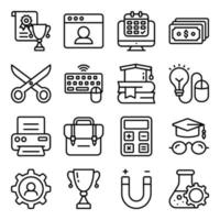 pacote de ícones lineares de acessórios educacionais vetor