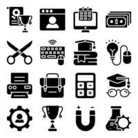 pacote de ícones sólidos de acessórios educacionais vetor