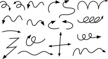 diferentes tipos de setas curvas desenhadas à mão no fundo branco vetor