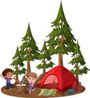 duas crianças com barraca de acampamento em fundo branco vetor