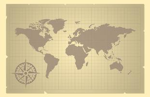 Mapa-múndi e rosa de bússola na ilustração antiga de papel vetor