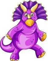 um personagem de desenho animado de dinossauro triceratops vetor