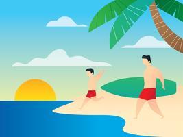 Pai e filho de férias na praia vetor